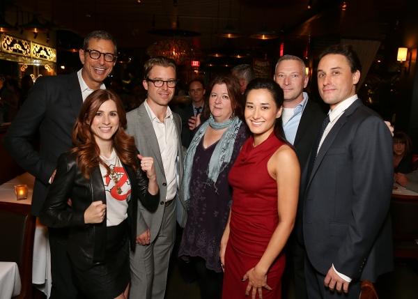 From left, cast members Jeff Goldblum, Aya Cash, Lucas Near-Verbrugghe, playwright Th Photo