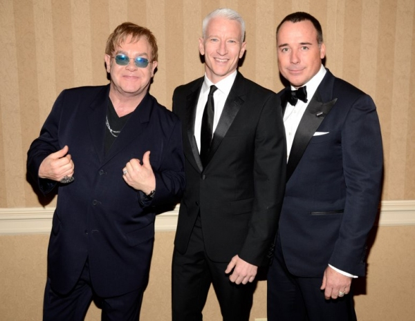 Sir Elton John, Anderson Cooper and David Furnish