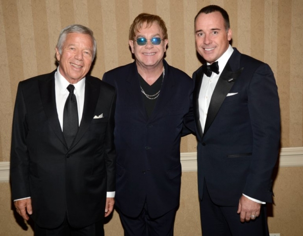 Robert Kraft, Sir Elton John and David Furnish Photo