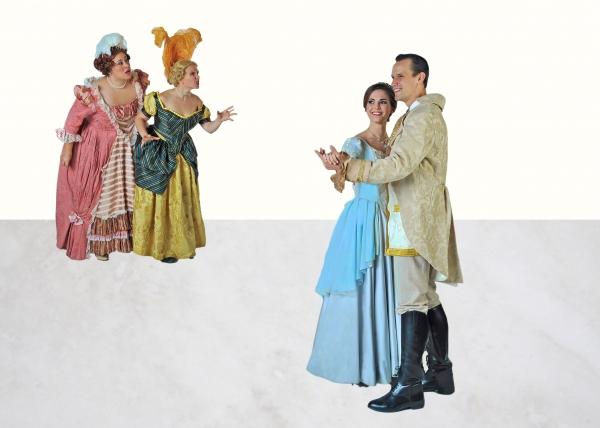 Jennylind Paris (Stepsister Grace), Daniella Painton (Stepsister Joy), Samantha Bruce (Cinderella) and Jake Delaney (Prince)