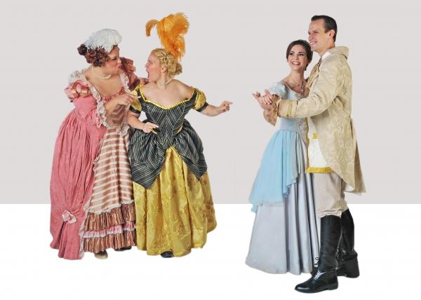 Daniella Painton (Stepsister Joy), Jennylind Paris (Stepsister Grace), Samantha Bruce (Cinderella) and Jake Delaney (Prince)