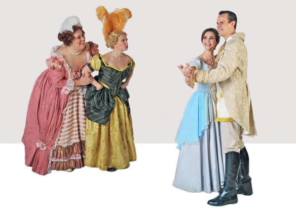 Daniella Painton (Stepsister Joy), Jennylind Paris (Stepsister Grace), Samantha Bruce (Cinderella) and Jake Delaney (Prince)