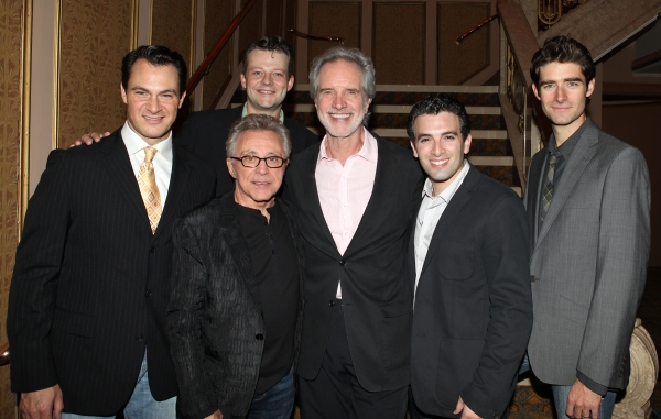 Matt Bogart, Frankie Valli, Jeremy Kushnier, Bob Gaudio, Jarrod Spector and Drew Gehling at FRANKIE VALLI AND THE FOUR SEASONS Opening Night Reception