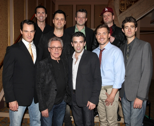 Todd Fournier, Brian Brigham, Jeremy Kushnier, Brandon Brigham,  Matt Bogart, Frankie Valli, Jarrod Spector, Landon Fournier and Drew Gehling  at FRANKIE VALLI AND THE FOUR SEASONS Opening Night Reception