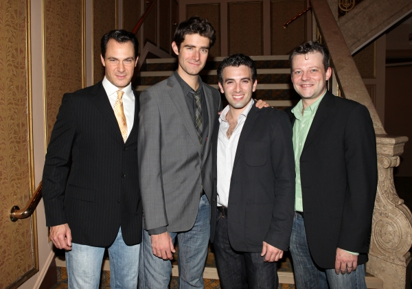 'Jersey Boys' cast: Matt Bogart, Drew Gehling, Jarrod Spector and Jeremy Kushnier at FRANKIE VALLI AND THE FOUR SEASONS Opening Night Reception