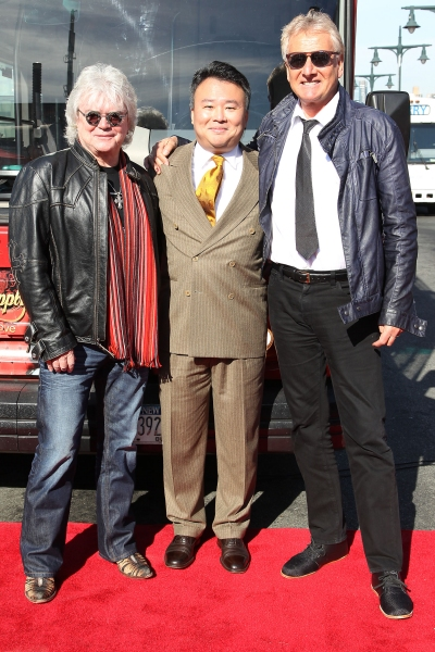 Russell Hitchcock of Air Supply, David Chien of Gray Line New York, and Graham Russell of Air Supply