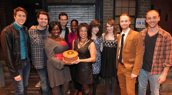 The cast of 'Avenue Q' (L to R) Darren Bluestone, Nicholas Kohn, Danielle K. Thomas, Jed Resnick, Robin S. Walker, Hazel Anne Raymundo, Veronica Kuehn, Kexy Fridell, Rob Morrison and Michael Liscio Jr. celebrating their 3rd Anniversary Off-Broadway at T