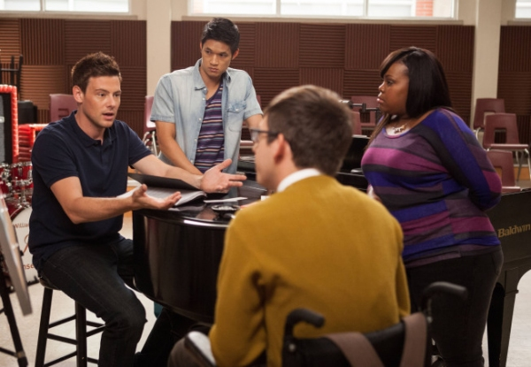 Cory Monteith, Kevin McHale, Harry Shum Jr., Amber Riley Photo
