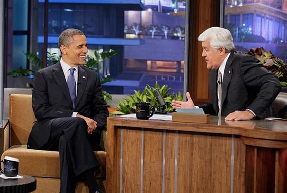 President Barack Obama, Jay Leno at President Barack Obama Visits JAY LENO