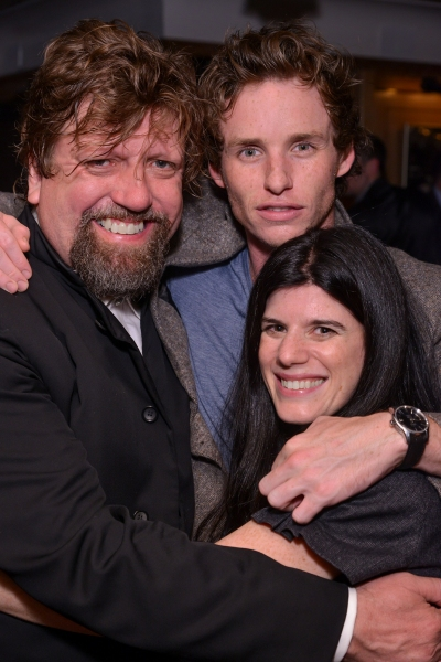 Artistic Director Oskar Eustis, Eddie Redmayne, and Associate Artistic Director Mandy Hackett