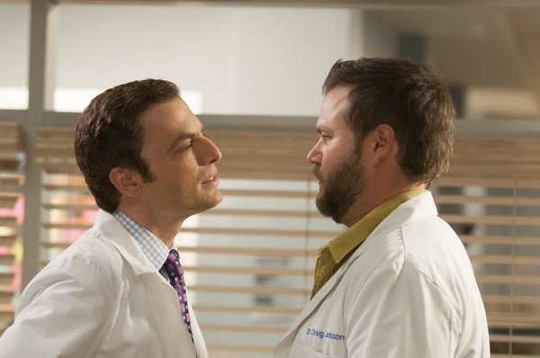 Justin Kirk, Tyler Labine at ANIMAL PRACTICE's 'Wingmen,' to Air 10/31