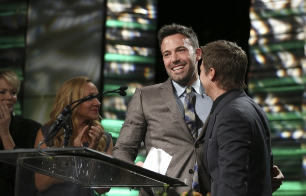 From left, Ben Affleck, Career Achievement Award winner and presenter Jeremy Renner during the 2012 Casting Society of America Artios Awards held at the Beverly Hilton Hotel on Monday Oct. 29, 2012 in Beverly Hills, Calif. (Photo by Ryan Miller/Capture Im