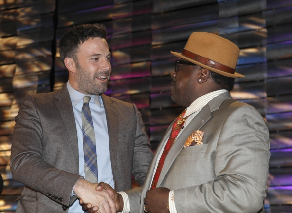 From left, Ben Affleck, Career Achievement Award winner is congratulated by Cedric the Entertainer during the 2012 Casting Society of America Artios Awards held at the Beverly Hilton Hotel on Monday Oct. 29, 2012 in Beverly Hills, Calif. (Photo by Ryan Mi