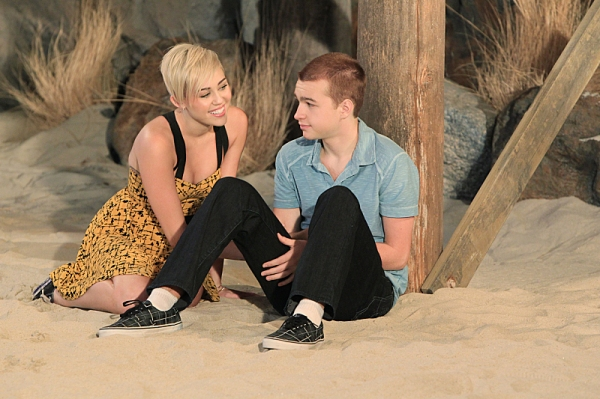 Angus T. Jones and Miley Cyrus at First Look - Miley Cyrus Guest Stars on TWO AND A HALF MEN