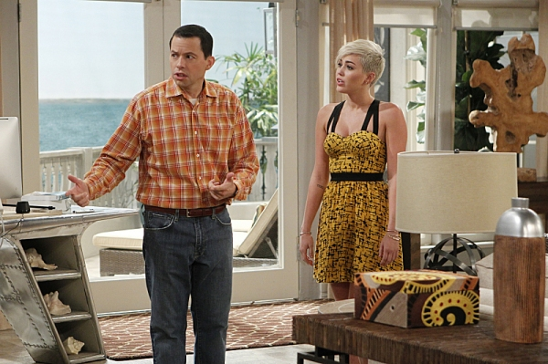 Jon Cryer and Miley Cyrus at First Look - Miley Cyrus Guest Stars on TWO AND A HALF MEN