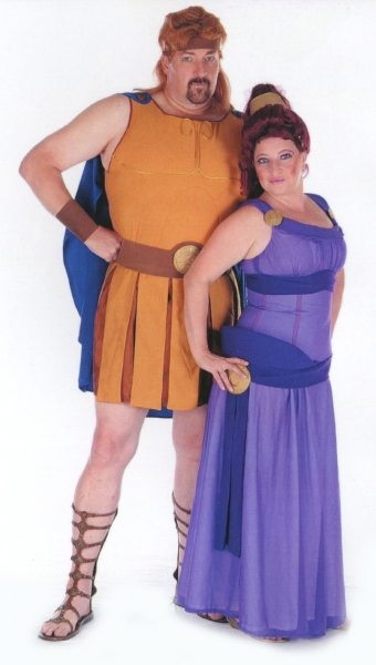 David Arnold and Cat Arnold as Hercules and Megara, wearing costumes designed by Cat, Photo