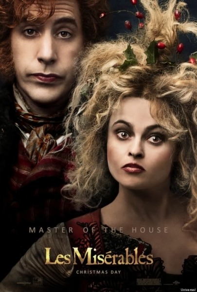 Helena Bonham Carter and Sacha Baron Cohen as the Thenardiers