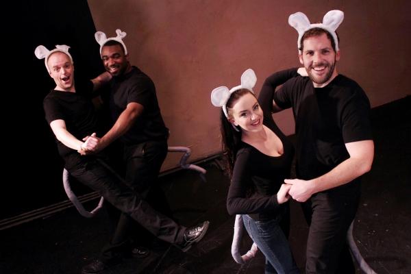 Dustin Gardner, Dez Walker, Britta Peele and Jamen Spitzer dance as lab mice