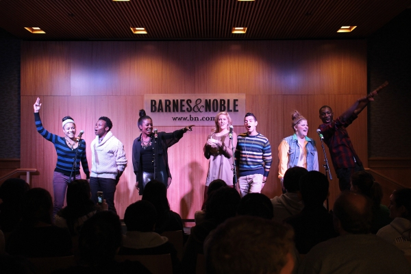 Ariana DeBose, Gregory Haney, Adrienne Warren, Taylor Louderman, Nicolas Womack, Ryann Redmond, Dominique Johnson at Lin-Manuel Miranda and BRING IT ON Cast Celebrates CD Release at Barnes & Noble!