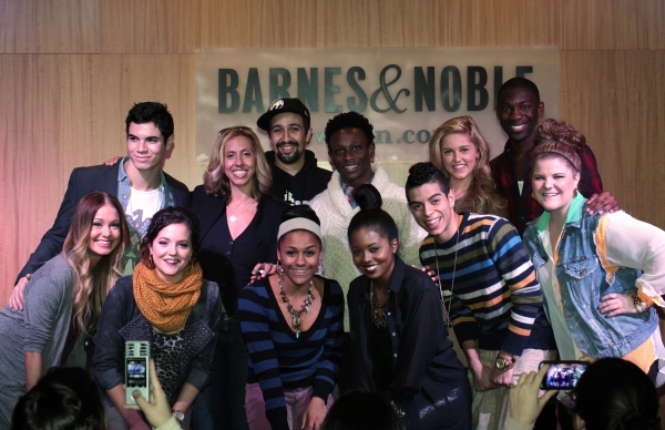 Elle McLemore, Jason Gotay, Janet Krupin, Amanda Green, Lin-Manuel Miranda, Ariana DeBose, Gregory Haney, Adrienne Warren, Nicolas Womack, Taylor Louderman, Dominique Johnson, Ryann Redmond at Lin-Manuel Miranda and BRING IT ON Cast Celebrates CD Release at Barnes & Noble!