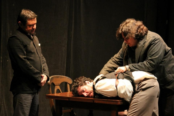 Robert Poley, Christopher Marlowe and Ingram Frizer (Sam Martinez, Scott McWhirter and Anthony Torres)