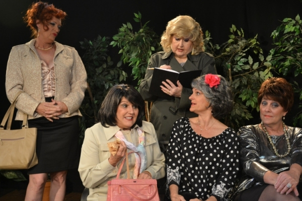 """Ladies, get out your money."" Madam Mae (Carolyn Montgomery) tallies up the ladies' earnings for the day. L to R - Mary Lou Roschbach, Sandi Morgan, Carolyn Montgomery, Cheryl Tanner, and Lisa Schofield."