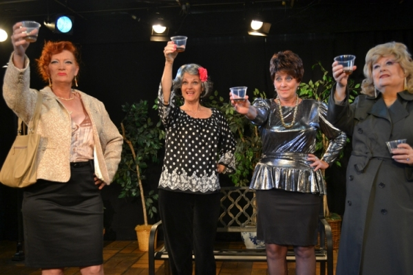 "Funeral toast: ""Here's to Lillian. The finest woman to ever walk the streets.""  (Lillian's funeral))                  L to R Mary Lou Roschbach, Cheryl Tanner, Lisa Schofield, Carolyn Montgomery"