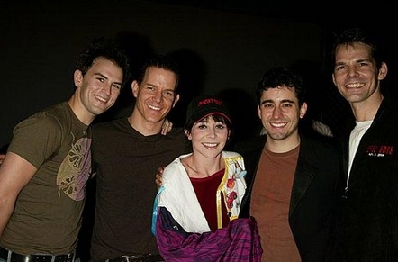 JERSEY BOYS Gypsy Robe Recipient, Sara Schmidt, with Daniel Reichard, Christian Hoff, John Lloyd Young and J. Robert Spencer