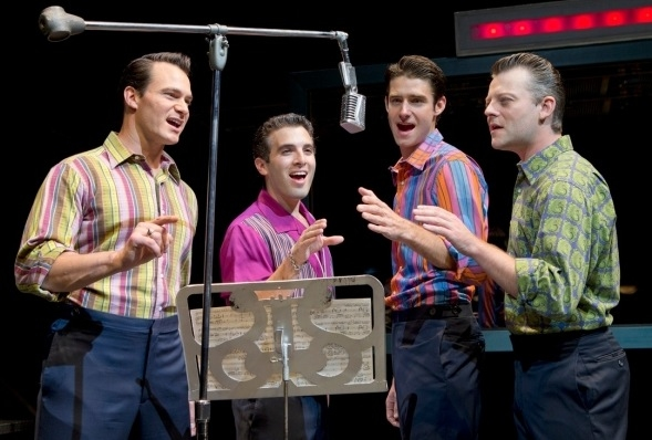The current cast of JERSEY BOYS: Matt Bogart, Jarrod Spector, Drew Gehling, Jeremy Kushnier at Flashback: JERSEY BOYS Celebrates Seven Years on Broadway Today!
