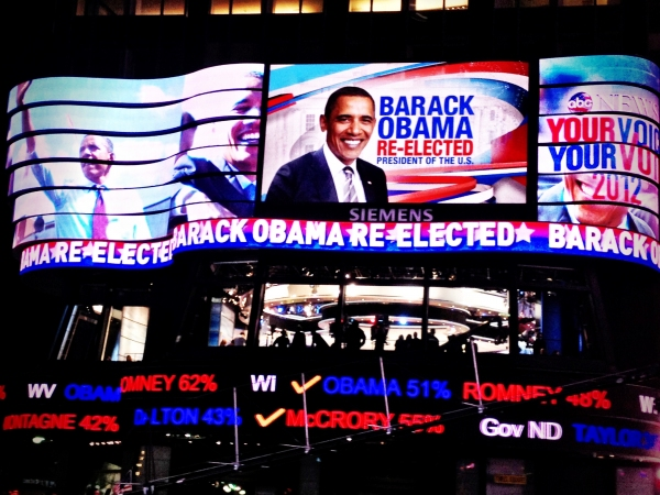 Photo Flash: The Scene at NYC's Times Square on Election Night 2012