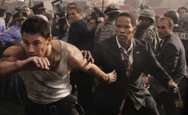 Channing Tatum, Jamie Foxx at First Look at WHITE HOUSE DOWN