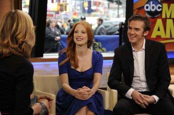 Lara Spencer, Jessica Chastain, Dan Stevens at THE HEIRESS' Jessica Chastain, Dan Stevens Visit GMA