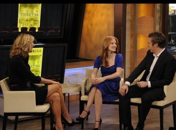 Lara Spencer, Jessica Chastain, Dan Stevens at THE HEIRESS' Jessica Chastain, Dan Stevens Visit GMA