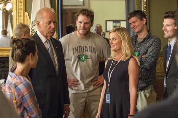 Vice President Joe Biden, Chris Pratt, Amy Poehler, Adam Scott