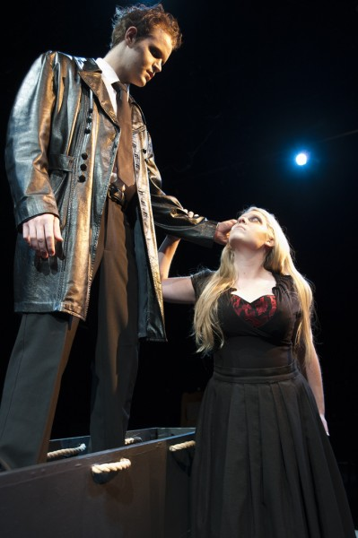Karli Rose Lowry as Mrs. Lovett and Joseph M. Bosteder as Sweeney Todd