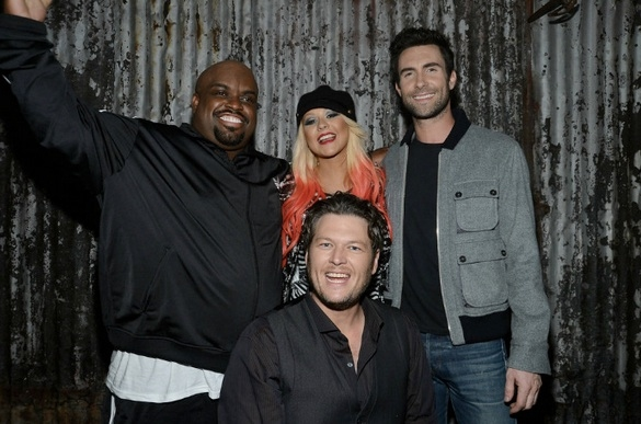 Christina Aguilera, CeeLo Green, Adam Levine and Blake Shelton at THE VOICE Top 12 Celebrate at LA's House of Blues