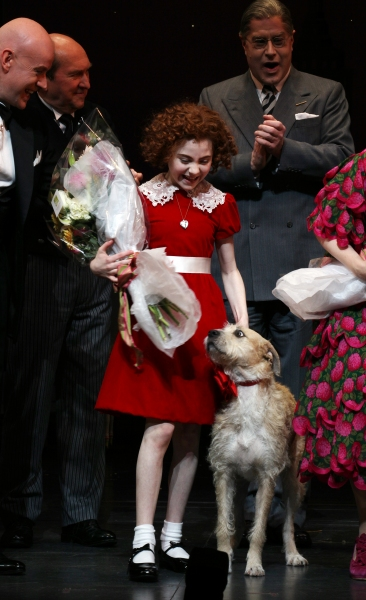Anthony Warlow, Lilla Crawford, Sunny & Merwin Foard at Inside Opening Night of ANNIE Opening- the Curtain Call!