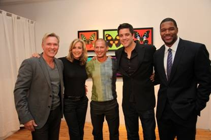 Sam Champion, Lara Spencer, Rubem Robierb, Josh Elliot and Michael Strahan at Sam Champion, Lara Spencer and Josh Elliot Host Rubem Robierb's 'Bullet-Fly Effect Art Show'