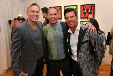 Sam Champion, Rubem Robierb and David Tutera at Sam Champion, Lara Spencer and Josh Elliot Host Rubem Robierb's 'Bullet-Fly Effect Art Show'