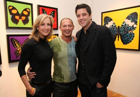 Lara Spencer, Rubem Robierb and Josh Elliot at Sam Champion, Lara Spencer and Josh Elliot Host Rubem Robierb's 'Bullet-Fly Effect Art Show'
