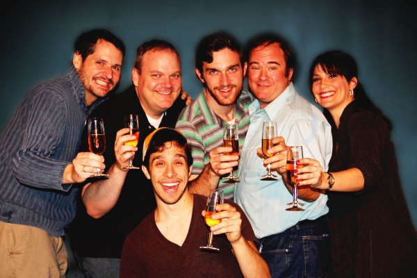Evan (Michael Lopetrone, center) is surrounded by his friends (from L to R, Jamie Richards, Joe Bailey, Robbie Dwight, Joel Mitchell, Lisa Melinn) in Philip Dawkins' The Homosexuals, playing at Ferndale's Ringwald Theatre from November 16 - December 10,