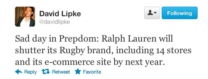 Ralph Lauren's RUGBY to Shutter by 2013