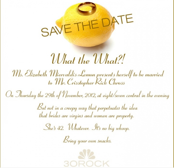 Photo Flash: NBC Asks Viewers to 'Save the Date' for Wedding of 30 ROCK's Liz Lemon