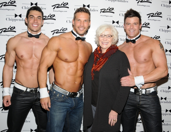 Betty Buckley with Jon Howes, Sami Eskelin, Betty Buckley and Nathan Minor, just three of the world famous Chippendales at the Rio All-Suite Hotel and Casino in Las Vegas. at Betty Buckley Visits Chippendales Las Vegas