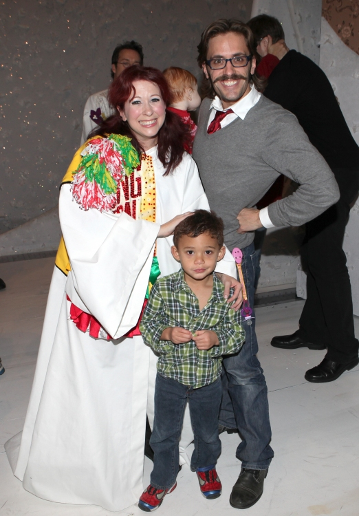 High Res Kirsten Wyatt & Eric Sciotto recipient for 'The Mystery of Edwin Drood' with his son & daughter