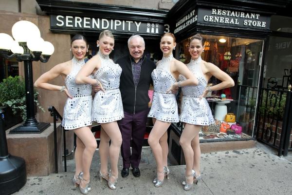 Rockette Corinne Tighe, Rockette Alli Lehr, Stephen Bruce (Owner of Serendipity), Rockette Brigid Cash, Rockette Jeanne Logan Cargill