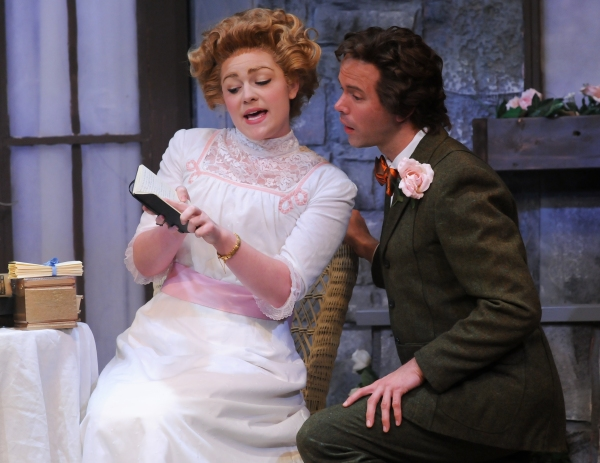 Jesse Wray Goodman as Cecily Cardew and Brent Vimtrup as Algernon Moncrieff