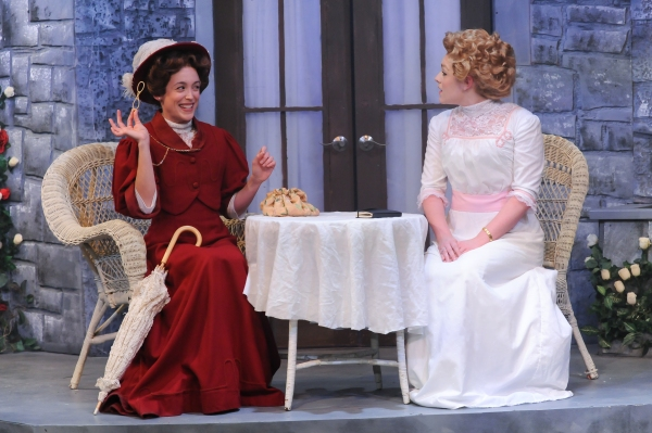 Sara Clark as Gwendolen Fairfax and Jesse Wray Goodman as Cecily Cardew