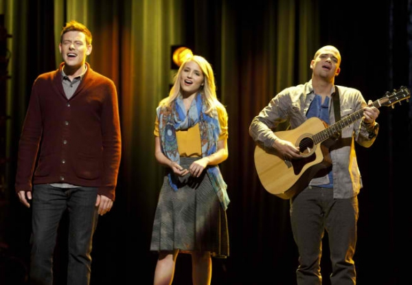 Cory Monteith, Dianna Agron, Mark Salling at First Look at GLEE's 'Thanksgiving' Episode!