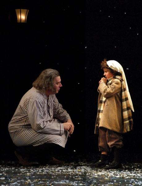 WILBUR EDWIN HENRY as Ebenezer Scrooge; RYAN GOLDFARB as Turkey Boy